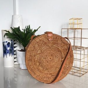 Urban Outfitters Circle Straw Crossbody Bag